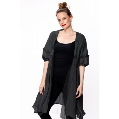 Double Layered Bubble Sleeve Cardigan in Black