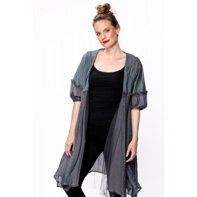 Double Layered Bubble Sleeve Cardigan in Blue