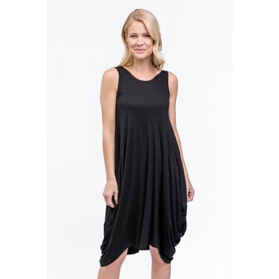 Sleeveless Bubble Tunic Dress in Black