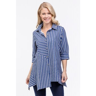 A-Line Striped Button-Up Shirt in Navy
