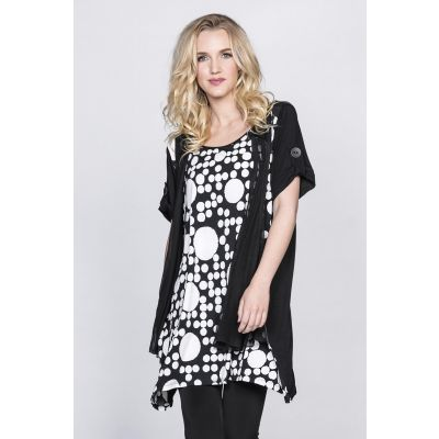Open Front Short Sleeve Tunic in Dot