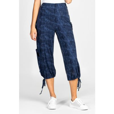 Faux Denim Wash Capri Jogger