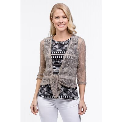 Mixed-Stitch Open Cardigan in Mushroom