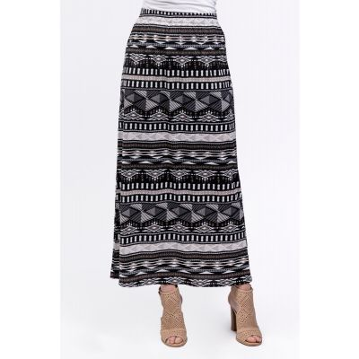 Brushstrokes Print Maxi Skirt in Black