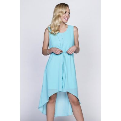Classic High-Low Dress in Aqua