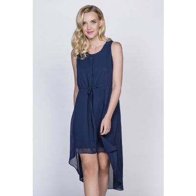 Classic High-Low Dress in Navy