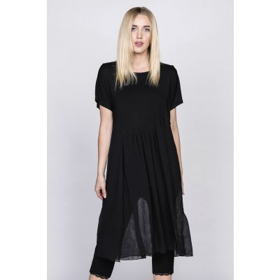 Chiffon Scoop Neck Tunic in Black