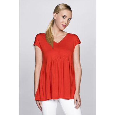 Ruffled Jersey Top in Orange