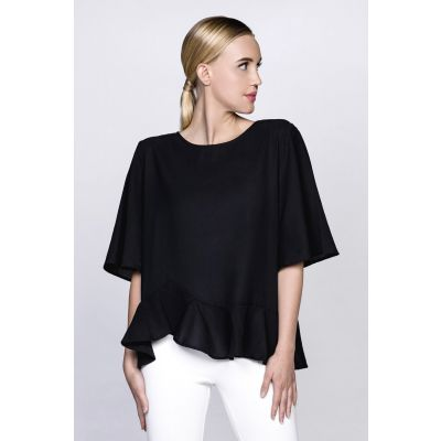 Ruffle Trim Top in Black
