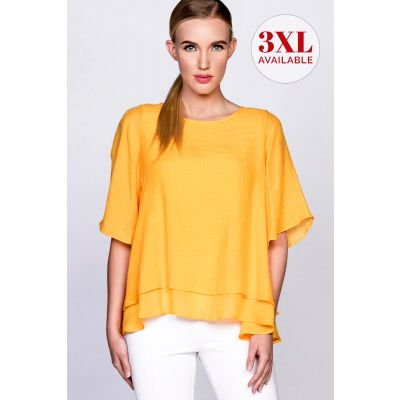 Double Layer Crepe Blouse in Marigold