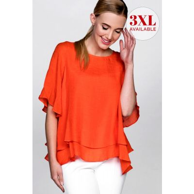 Double Layer Crepe Blouse in Orange