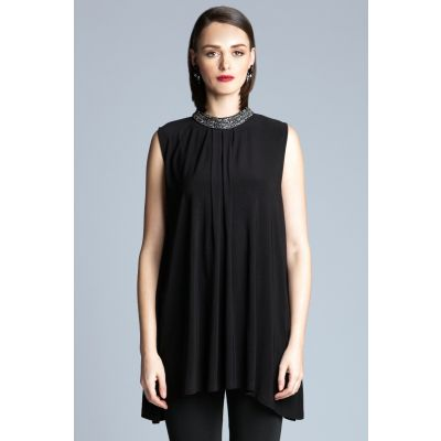 Embellished Neck Tunic in Black