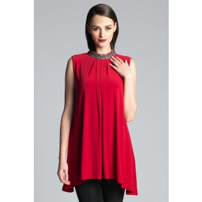 Embellished Neck Tunic in Red