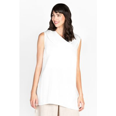 Cowl Neck Linen-Like Top in White