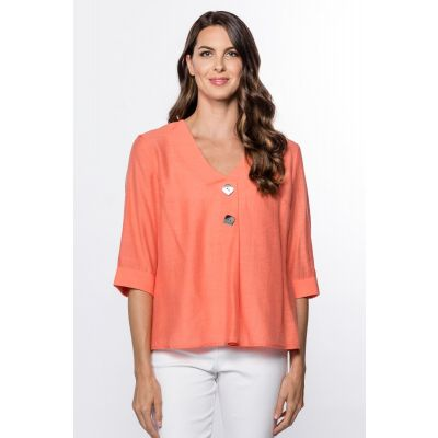 Button-Front 3/4-Sleeve Top in Coral