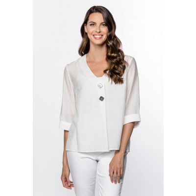 Button-Front 3/4-Sleeve Top in White