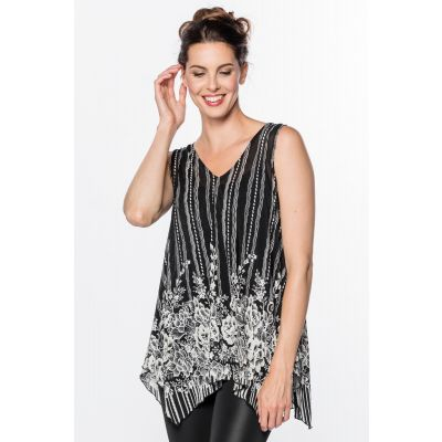 Floral Print Sleeveless Blouse (2-Piece) in Black & White