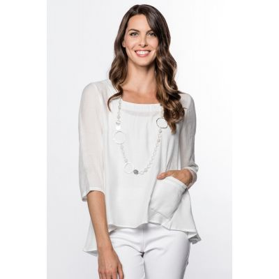 Lightweight Bateau-Neck Top in White