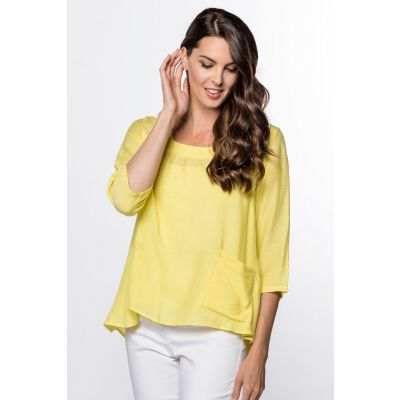 Lightweight Bateau-Neck Top in Yellow
