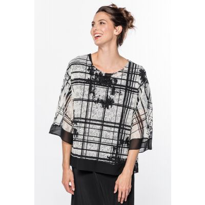Patterned Oversized Mesh Top