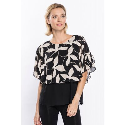 Print Poncho Blouse in Black