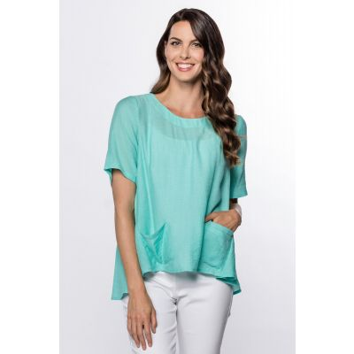 High-Low Linen-Like Top in Aqua