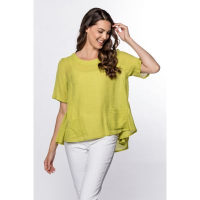 High-Low Linen-Like Top in Kiwi