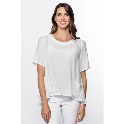 High-Low Linen-Like Top in White