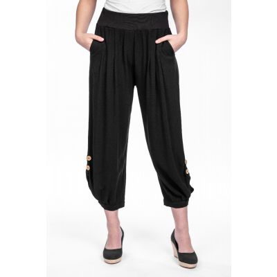 Linen-Cotton Blend Button Pant in Black