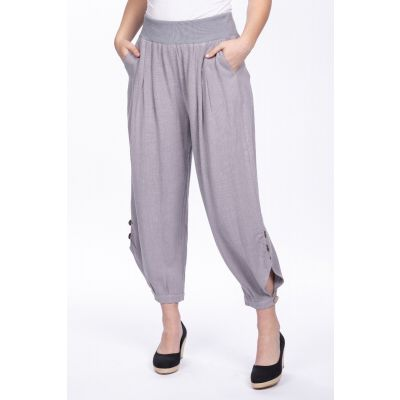 Linen-Cotton Blend Button Pant in Grey