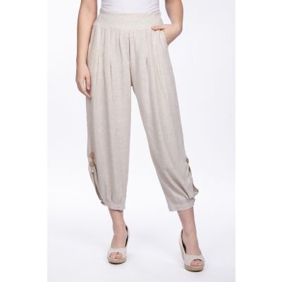 Linen-Cotton Blend Button Pant in Linen