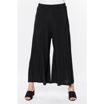 Wide Leg Pocket Pant in Black