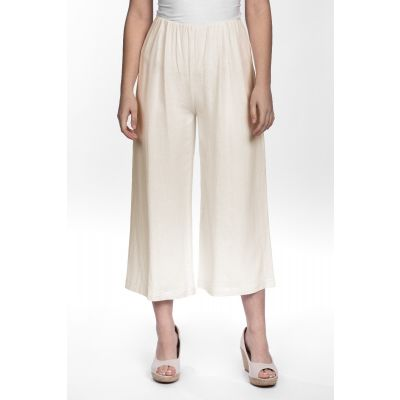 Linen-Cotton Blend Wide Leg Capri in Linen