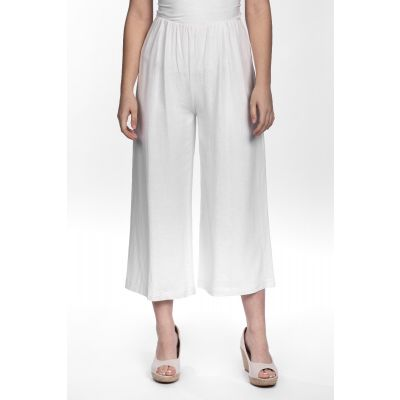 Linen-Cotton Blend Wide Leg Capri
