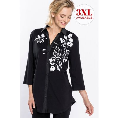 ¾ Sleeve Floral Print Shirt in Black