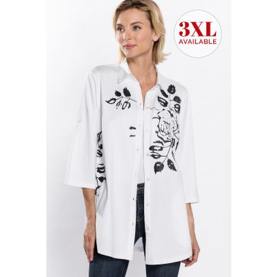 ¾ Sleeve Floral Print Shirt in White