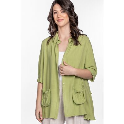 Linen-Cotton Blend Peasant Blouse in Lime