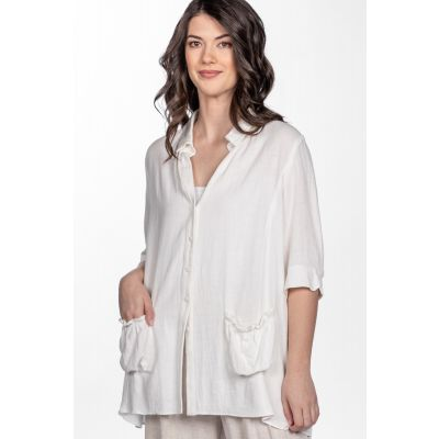 Linen-Cotton Blend Peasant Blouse in White