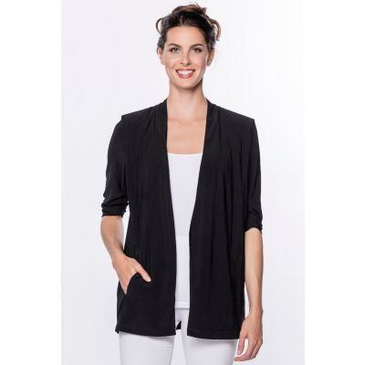 Open Front Jersey Blazer in Black