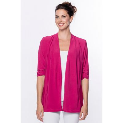 Open Front Jersey Blazer in Raspberry