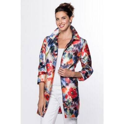 Open Front Floral Print Jacket in Multi