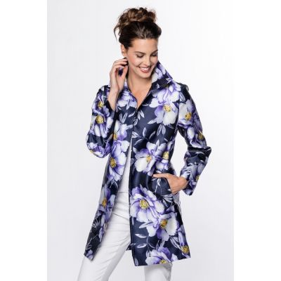 Open Front Floral Print Jacket in Purple