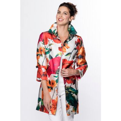 Open Front Floral Print Jacket in Red
