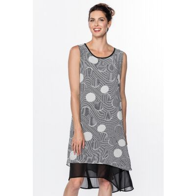 High Low Print Dress in Black