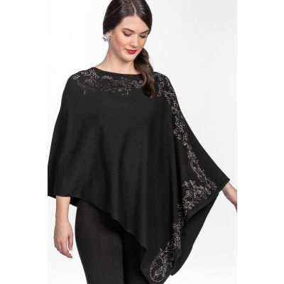 Asymmetric Rhinestone Poncho Top in Black