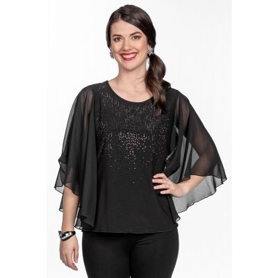 Glitter Mesh Cape Top in Black