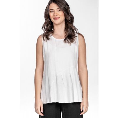 Linen-Cotton Blend Simple Tank in White