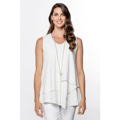 Asymmetric Sleeveless Top in White