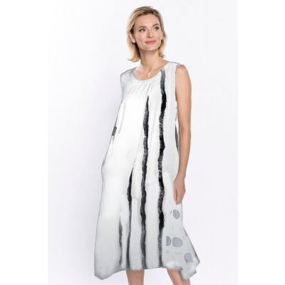 Abstract Block Print Dress in White