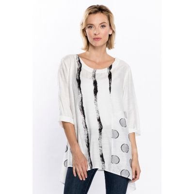 Abstract Print Asymmetrical Tunic in White